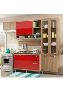 Cozinha Compacta Sem Tampo 9 Portas 5816 Argila/Vermelho - Multimóveis