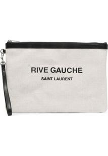 Saint Laurent Clutch Com Estampa De Logo - Branco
