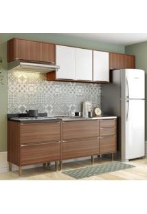 Cozinha Compacta 8 Portas 4 Gavetas 5456 Nogueira/Branco - Multimóveis