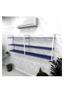 Estante Industrial Escritório Aço Cor Branco 180X30X68Cm (C)X(L)X(A) Cor Mdf Azul Modelo Ind32Azes