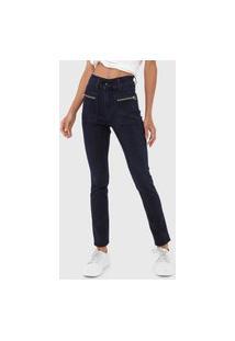 Calça Jeans Sawary Skinny Zíperes Azul-Marinho