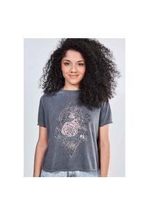 Camiseta Marmorizada Estampa Rosas