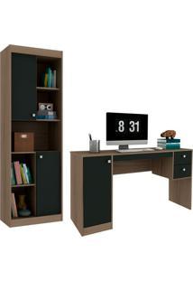 Escrivaninha Com Estante Home Office Avelã E Ônix