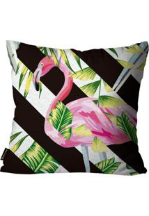 Capa Para Almofada Premium Peluciada Mdecore Flamingo Colorido 45X45Cm Preto