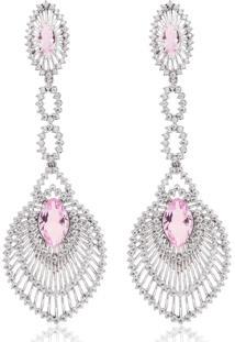 Brinco Soloyou Longo De Filigranas Luxo Semijoia Ródio Branco Com Zircônia Branca E Cristal Rosa