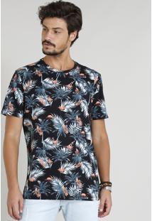 Camiseta Masculina Estampada De Folhagem Manga Curta Gola Careca Preta