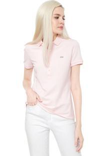 Camisa Polo Lacoste Logo Rosa