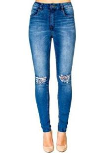 Calça Jeans Skinny Destroyed Handbook - Feminino-Azul