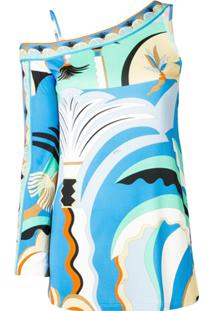 Emilio Pucci Blusa Assimétrica Com Estampa Summer - Azul