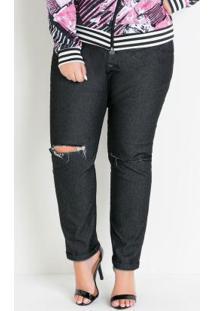 Calça Jeans Preta Com Rasgos No Joelho Plus Size