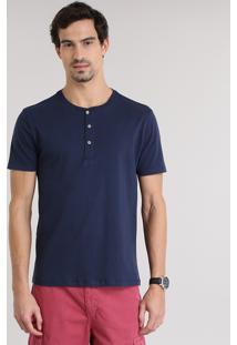 Camiseta Básica Com Botões Azul Marinho