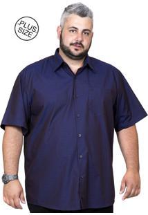 Camisa Plus Size Bigshirts Manga Curta Maquinetada - Azul Escuro