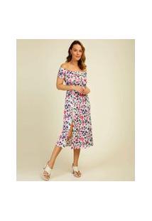 Vestido Feminino Midi Ciganinha Estampa Floral