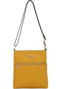Bolsa Smartbag Transversal Vaqueta Ondas - Feminino-Amarelo
