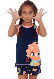 Pijama Dina- Azul Marinho & Laranjapuket