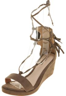 44aa2ef1ee ... Sandália Dafiti Shoes Anabela Franja Verde