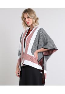 106fde1eb68b ... Kimono Feminino Em Tricô Estampado Geométrico Branco
