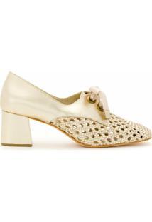 Sarah Chofakian Sapato Romance De Couro Metalizado - Dourado