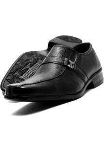 Sapato Social Masculino Clássico Em Couro Fox Shoes - Masculino-Preto
