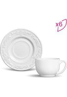 Jogo De Xícaras De Chá Acanthus- Branco- 6Pçs- 1Porto Brasil