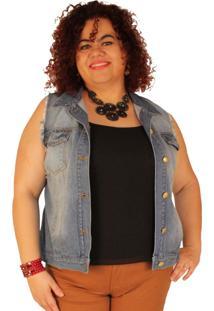 Colete Jeans True E-Motion Ritalee Lavagem Clara Azul