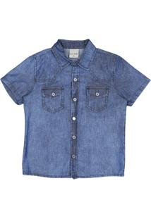 Camisa Jeans Manga Curta- Azul Escuro- Bakulelêbakulelê