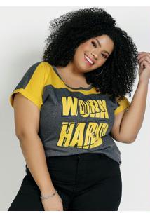 Blusa Chumbo E Amarela Com Recortes Plus Size