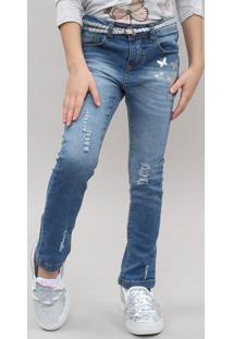 Calça Jeans Infantil Destroyed Com Borboletas E Cinto Jeans Médio