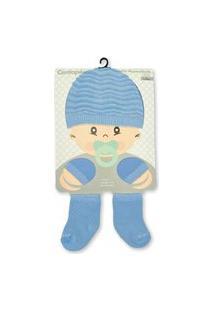 Kit Enxoval 3 Peças Centopé - Touca, Luvas E Meias Azul Bebê