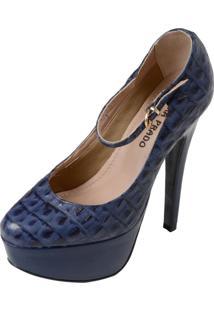 Scarpin Laura Prado Plataforma Azul