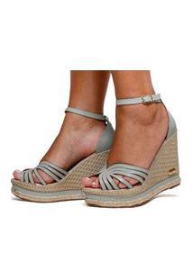 Sandália Salto Anabela Sb Shoes Ref.3275 Verde Alga