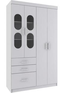 Guarda Roupa Rodial Infantil Plic-Plac 4 Portas 3 Gavetas Branco