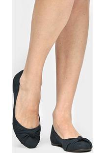 Sapatilha Couro Shoestock Nó Feminina - Feminino-Marinho