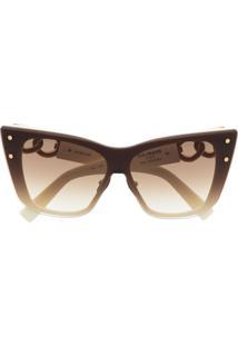 Balmain Eyewear Óculos De Sol Gatinho - Neutro
