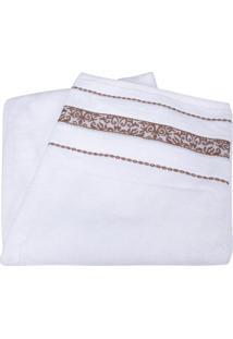 Toalha De Banho Branca Com Barra Decorada - Prima Delicatta