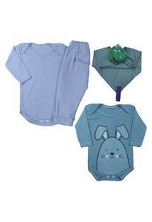 Kit 4 Pçs Presente Para Enxoval Bebê Estiloso E Confortável Azul