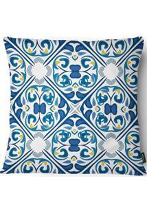 Capa Para Almofada Em Linho Garden Azulejo 43X43Cm Azul E Branca