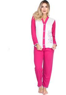Pijama Longo Bravaa Modas Blusa Aberta Botões 014 Rosa