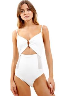 Body Rosa Chá Belize Malha Off White Feminino (Off White, G)