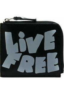 Comme Des Garçons Wallet Carteira De Couro Com Zíper 'Live Free' - Preto