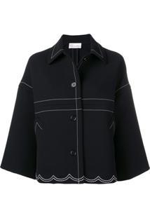 Redvalentino Stitching Detail Oversized Jacket - Preto