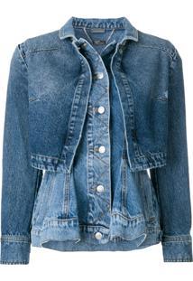 Alexander Mcqueen Jaqueta Jeans Com Bainha Peplum - Azul