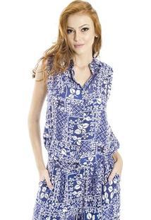 Camisa Viscose Estampada Cantão - Feminino-Azul