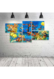 Quadro Decorativo - Shipwreck-Sea-Seabed-Fish-Corals - Composto De 5 Quadros