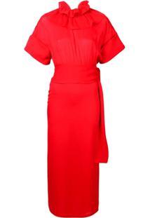 Victoria Beckham Vestido Com Babados Na Gola - Vermelho