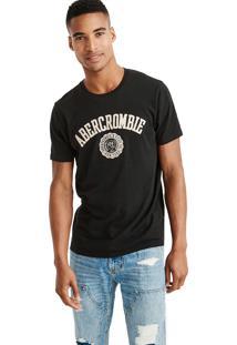 Camiseta Manga Curta Abercrombie Gráfica Preta