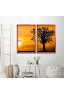 Quadro Com Moldura Chanfrada Por Do Sol Com Árvore Rose Metalizado - Médio