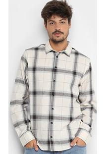 Camisa Xadrez Forum Manga Longa Smart Masculina - Masculino-Off White