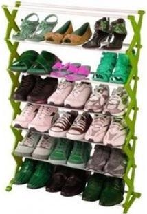 Sapateira Regulavel Com 7 Andares Suporta Ate 21 Pares De Sapatos Na Cor Verde