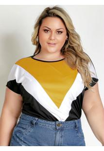 Blusa Preta Com Recortes Plus Size